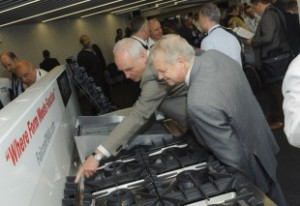 Delegates at the Falcon F900 launch check out the new range crop